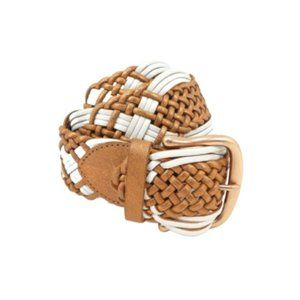 Linea Pelle Copper/White Woven Leather Belt